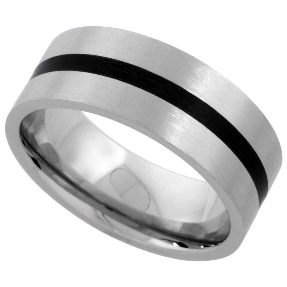 Stainless Steel Flat Band with Black inlay Ring 8mm