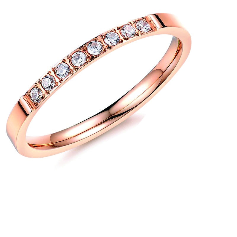 Stainless Steel CZ Top Band Ring