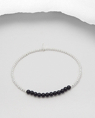 Semi-Precious Stretch Sterling Silver Bracelet