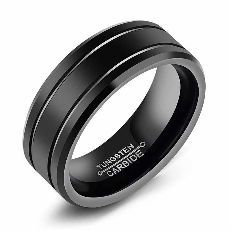 Double Grooved Black Tungsten Ring