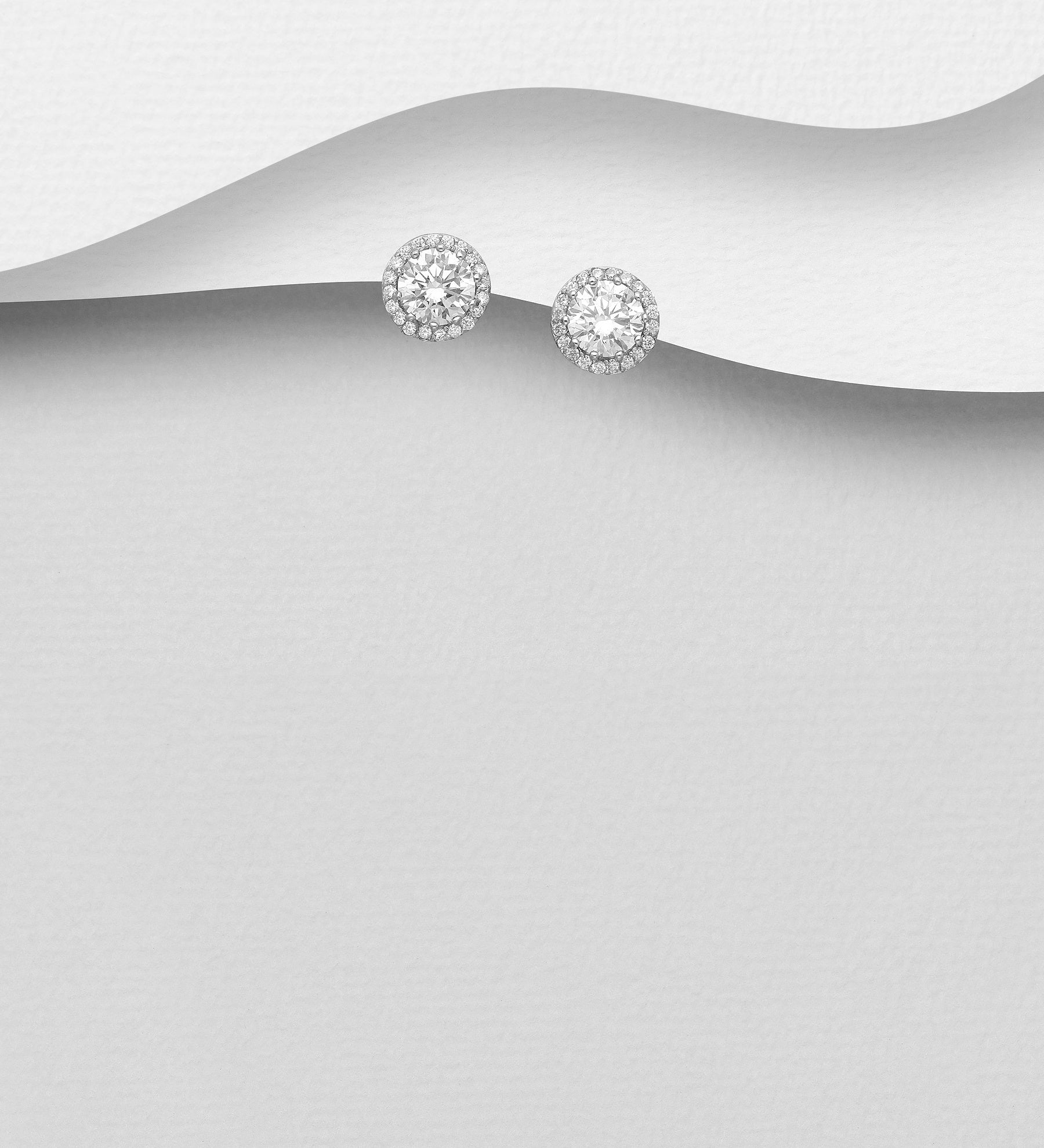Halo CZ Stud Earrings