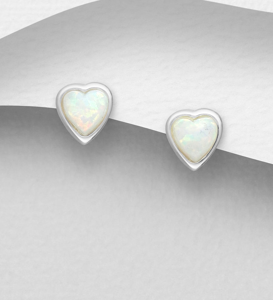 Medium Heart Opal Earrings