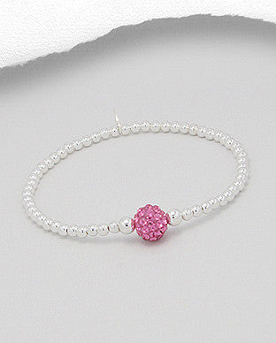 Birthstone Crystals Sterling Silver Stretch Bracelet