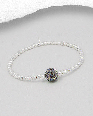 Birthstone Crystals Sterling Silver Stretch Bracelet - Layered Charm