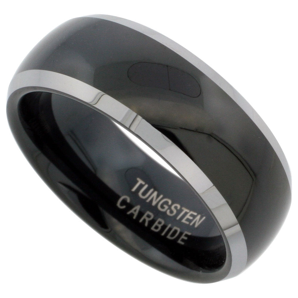 Black Dome with Silver Edge Tungsten Ring