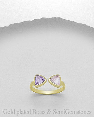 18K Gold Plated Triangle Duo Gemstone Ring