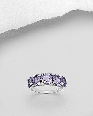 Wide Prong Amethyst Ring