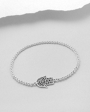 Hamsa Sterling Silver Stretch Bracelet