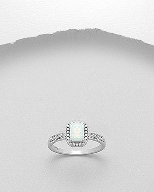 Rectangular Shaped Opal CZ Ring