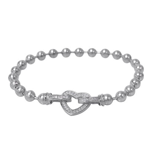 Rhodium CZ Heart and Ball Bracelet