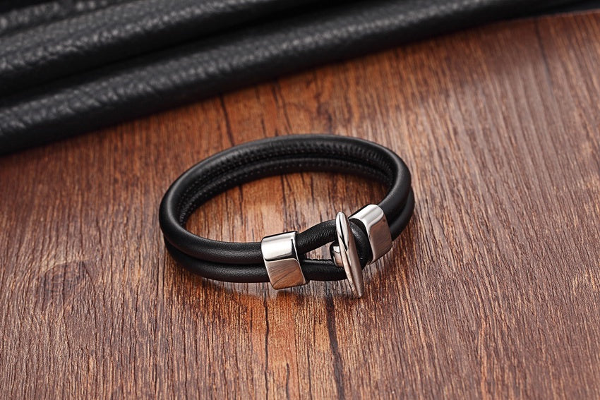 Genuine Leather Bracelet with Anchor Clasp