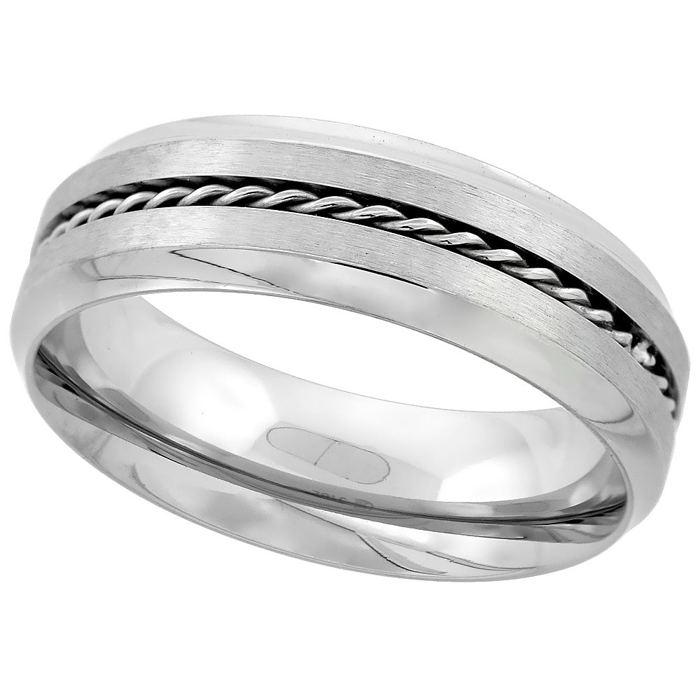 Stainless Steel Rope Inlay Wedding Band Ring - 7mm