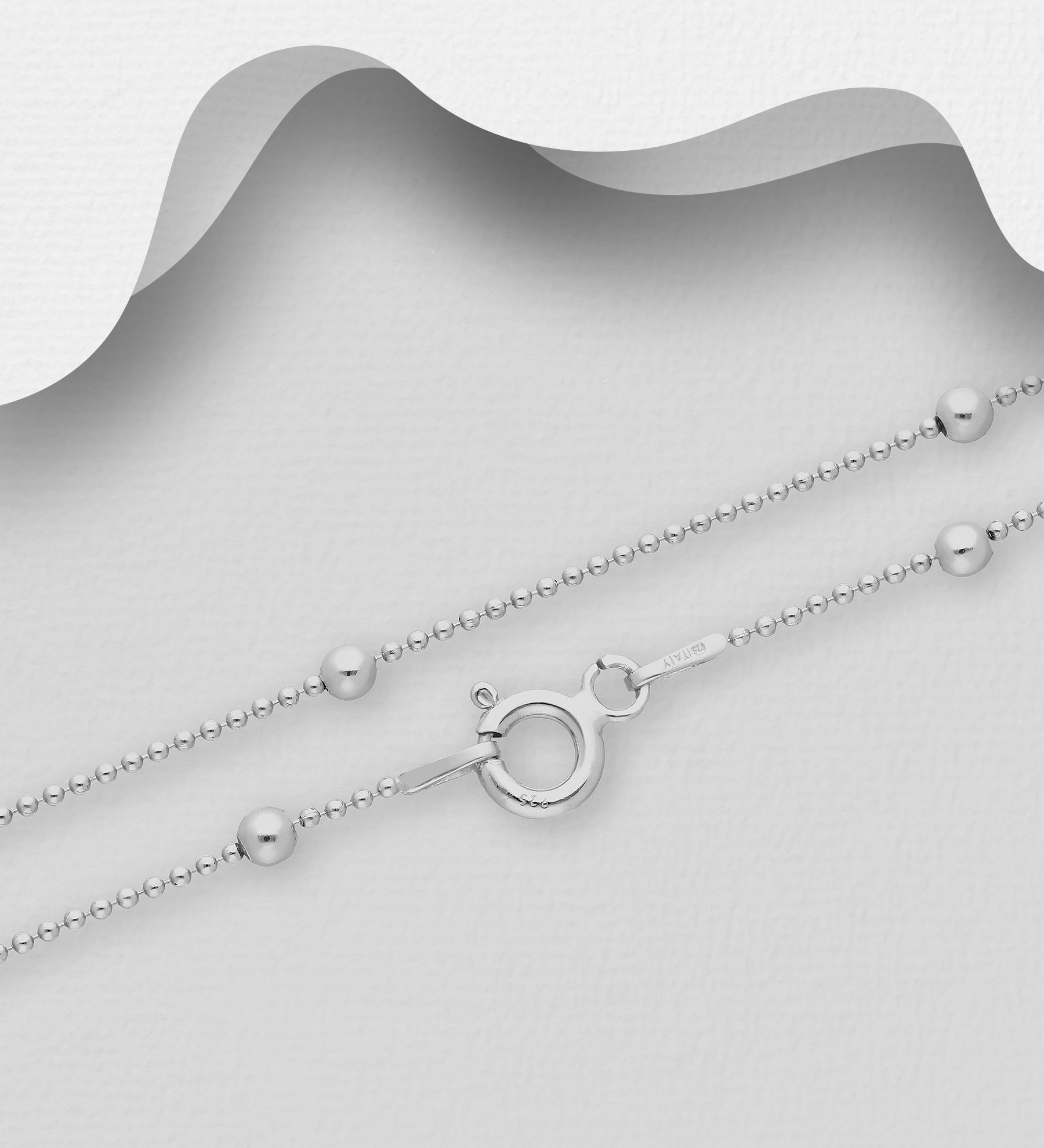 Saturn Rhodium Bead Chain