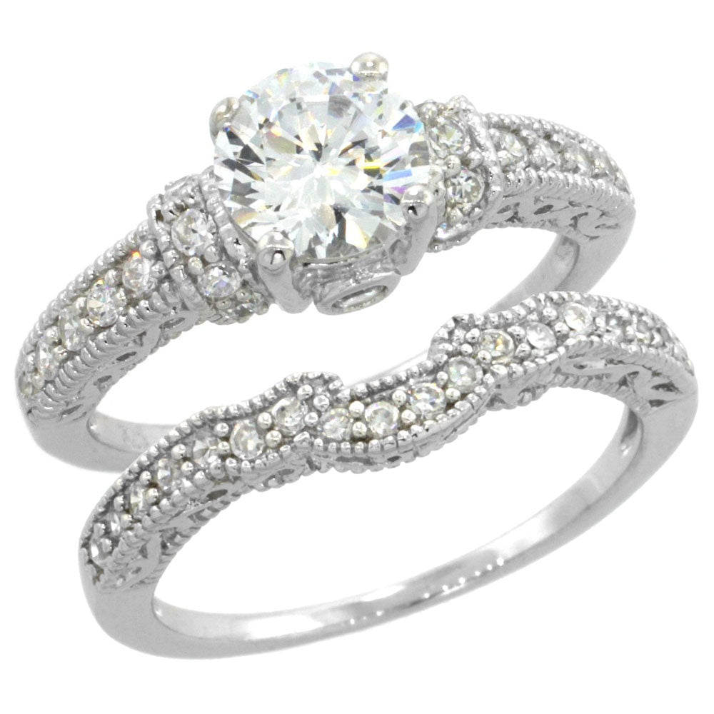 1.25 ct CZ Wedding Ring Set