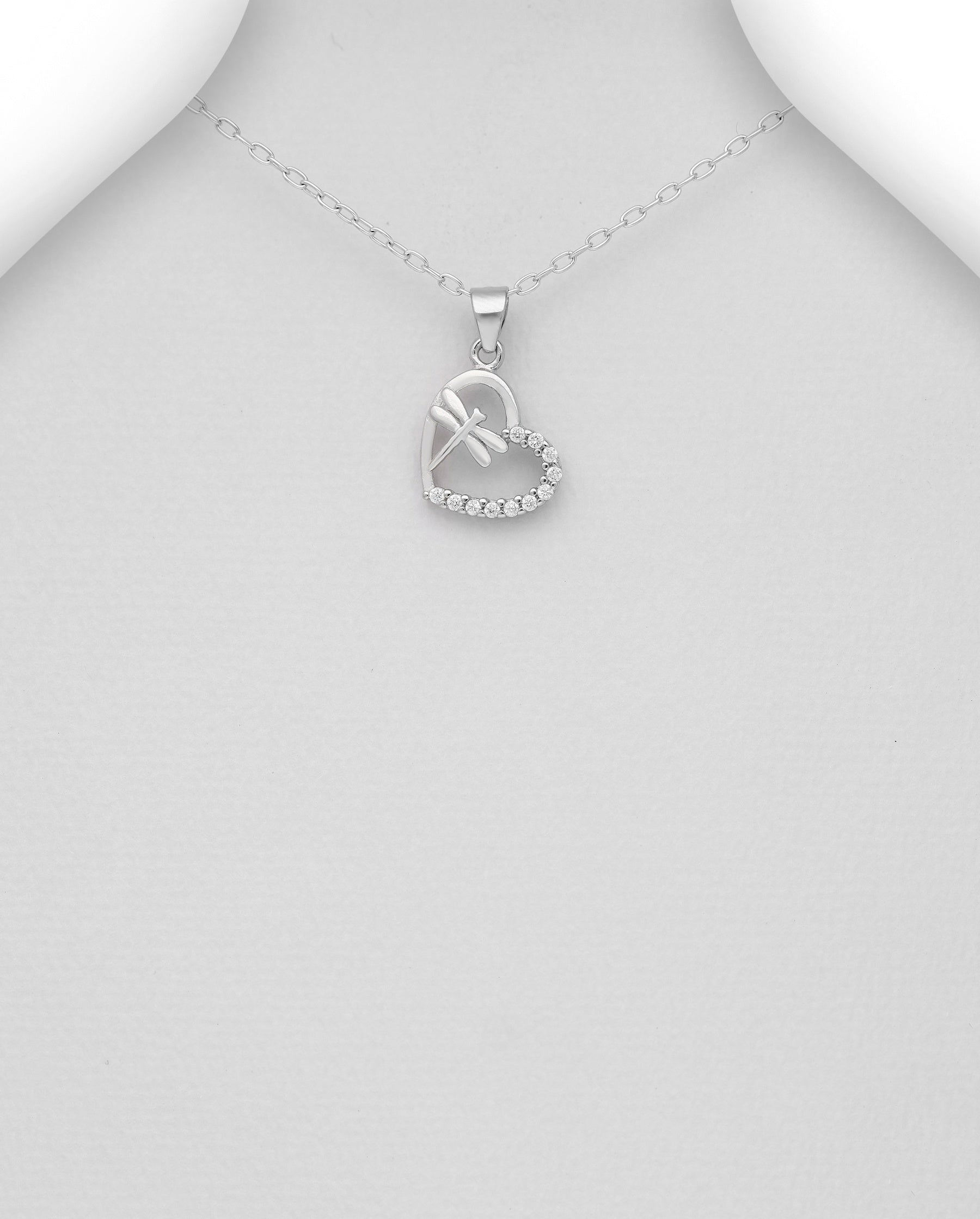 CZ Heart Dragonfly Necklace