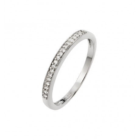 Sterling Silver Rhodium Plated Round CZ Band