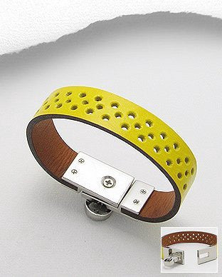 Hole Pattern Leather Bracelet