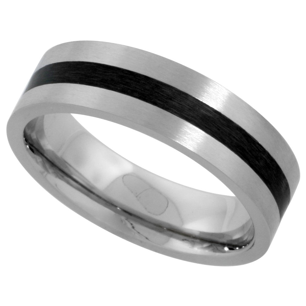 Stainless Steel Band with Black Stripe