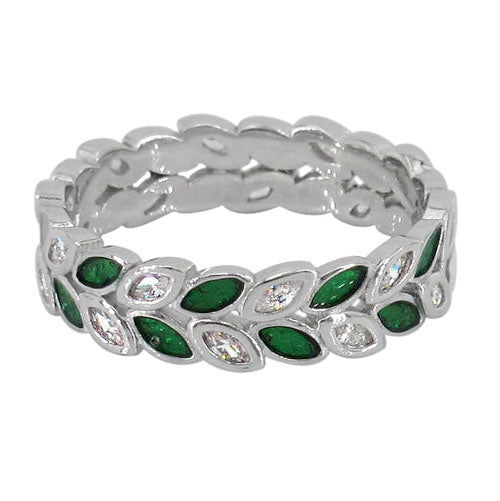 Green and Clear CZ Leaf Eternity Ring