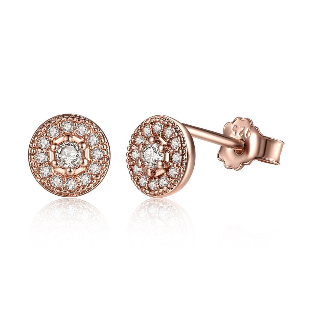 Rose Gold Halo Stud Earring