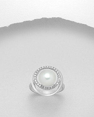 Abstract Halo Pearl Ring