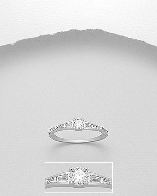 CZ  Solitaire Ring 4mm