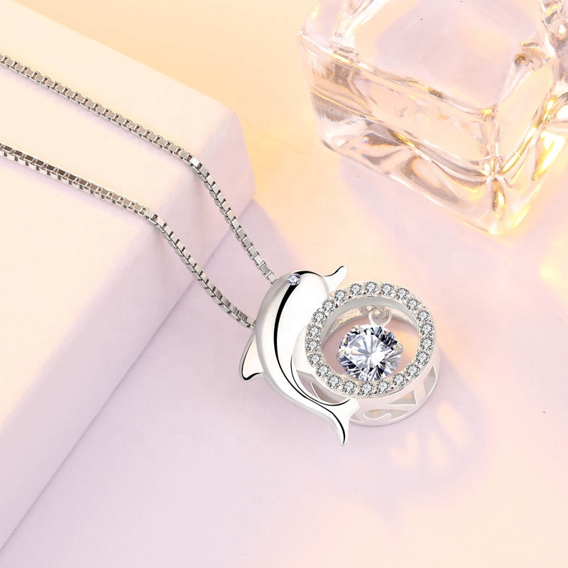 Dancing CZ Dolphin Necklace