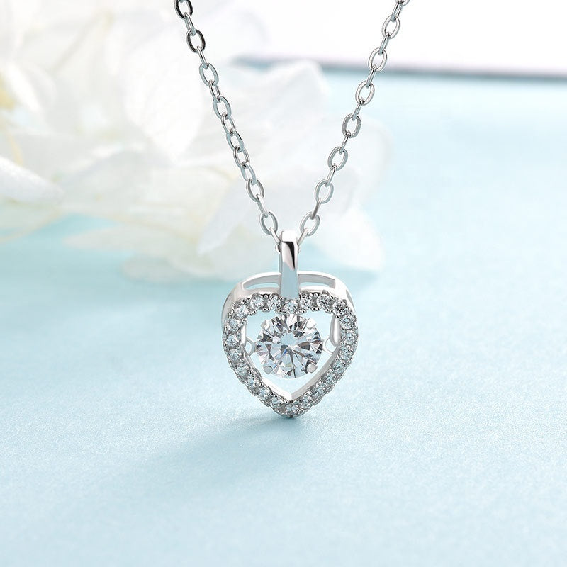 Halo Heart Dancing Stone Necklace