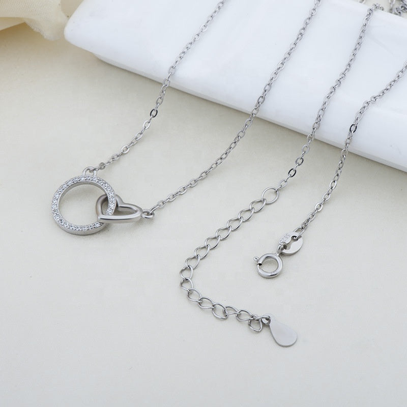 CZ Circle and linked Heart Necklace