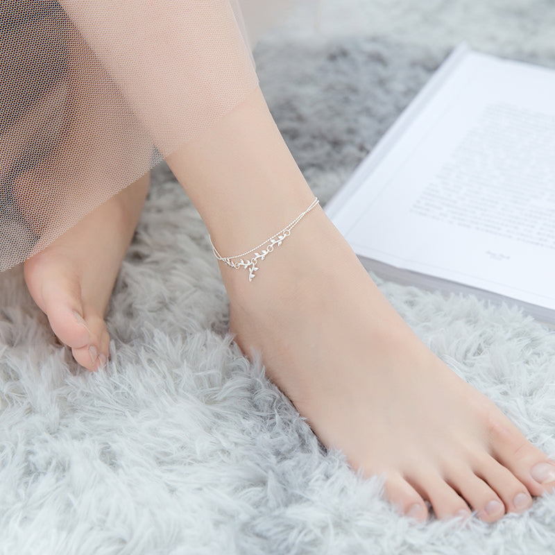 Leaf and Bead Anklet