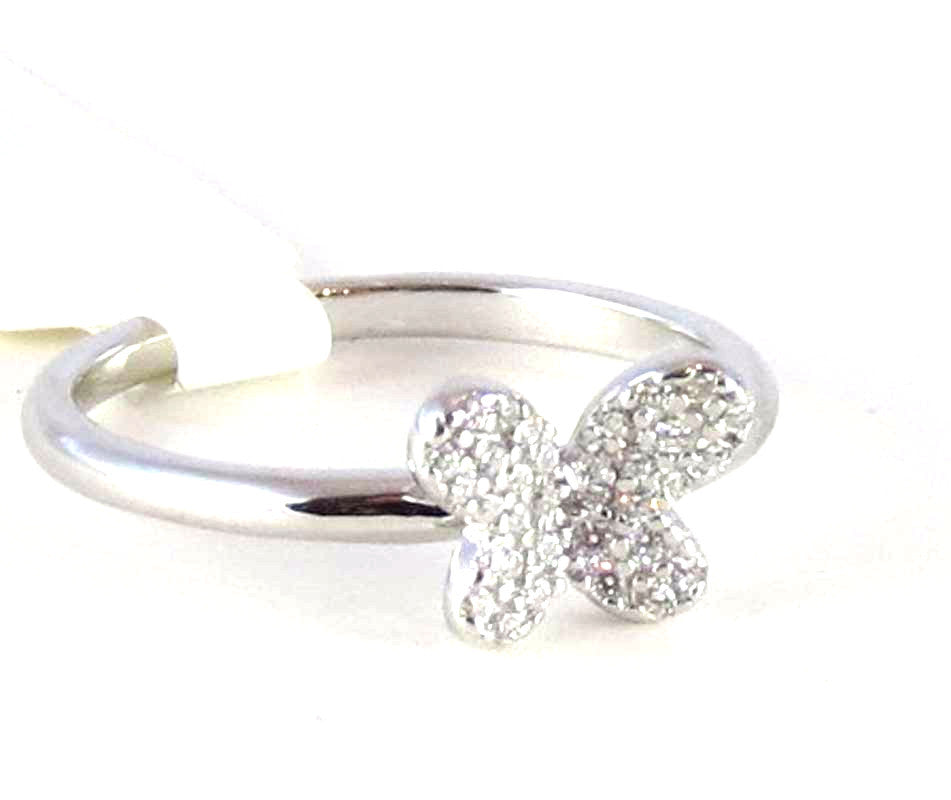 Sterling Silver Rhodium Plated Butterfly micro paver Ring