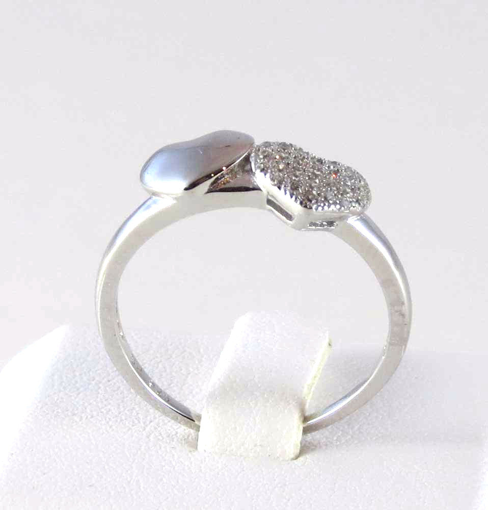 Sterling Silver Rhodium Plated Micro Pave Set Heart Ring