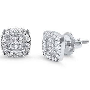 Micro Pave Round Corners Men's Earrings