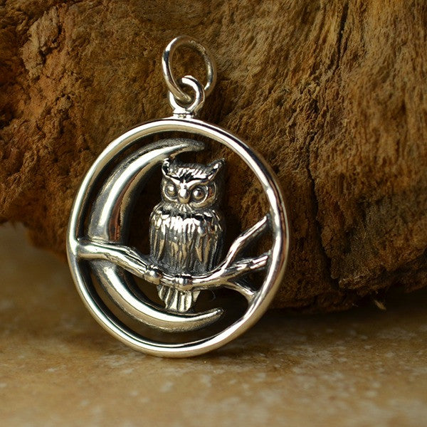 Owl and Moon Charm