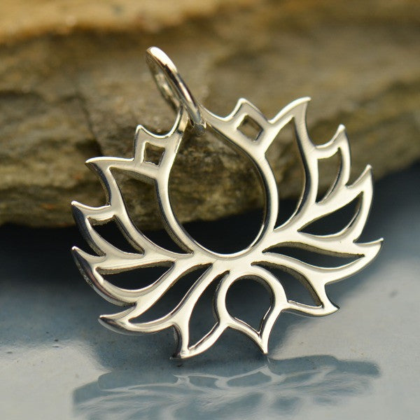 Wide Outline Lotus Necklace