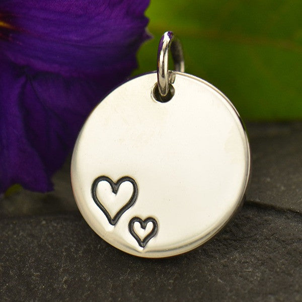 Circle Two Etched Hearts Charm