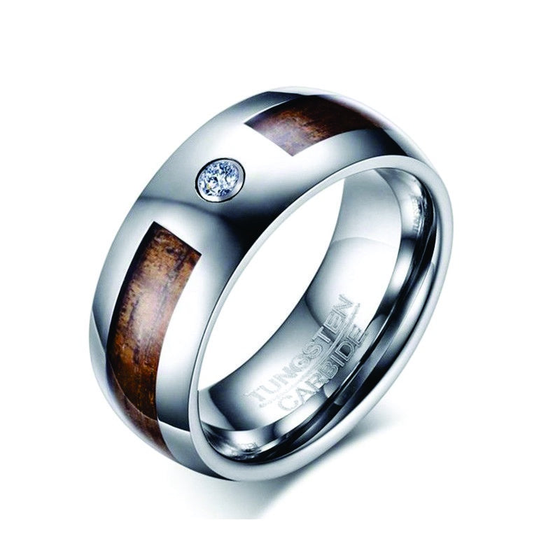 Tungsten with CZ Wood Inlay Ring