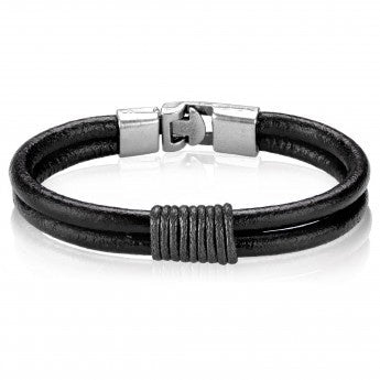 Men's Leather Twined Double Strand Bracelet (12 mm) - 8""