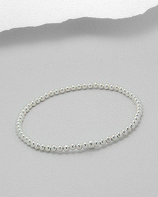 Sterling Silver Ball Stretch Bracelet (3.5mm) - Layered Charm