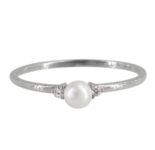 Thin Pearl Solitaire Ring