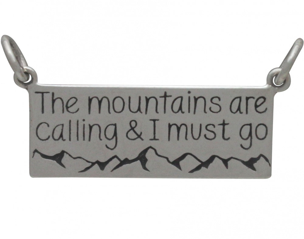"""The Mountains are Calling"" Rectangle Necklace"