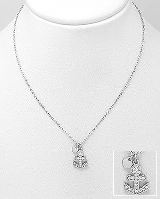 CZ Anchor & Heart Necklace