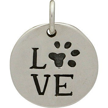 Love Paw Print Circle Necklace