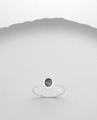 Oval Opal Sterling Silver Stackable Ring