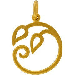 Satin 24K Gold Plated Sterling Silver Curled Vine Pendant - Layered Charm