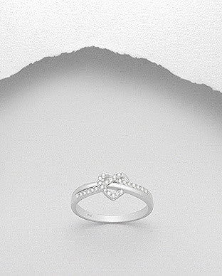 CZ Heart Knot Ring