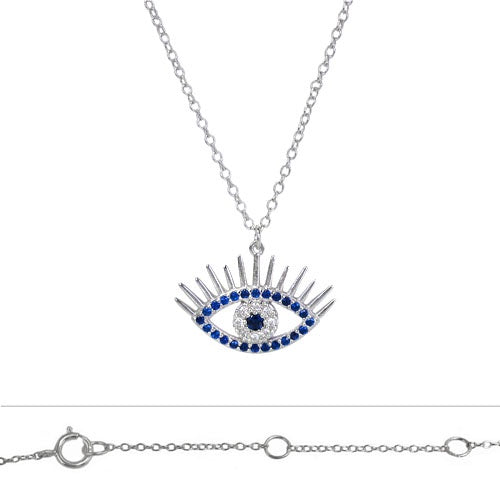 CZ Evil Eye with Lashes Necklace