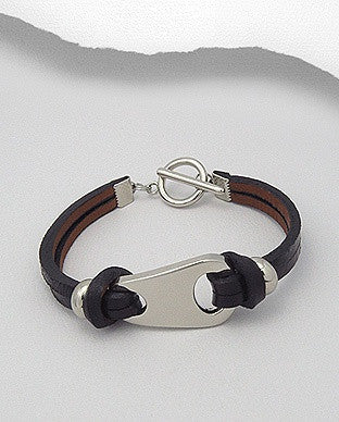 Abstract Shape Accent Leather Bracelet