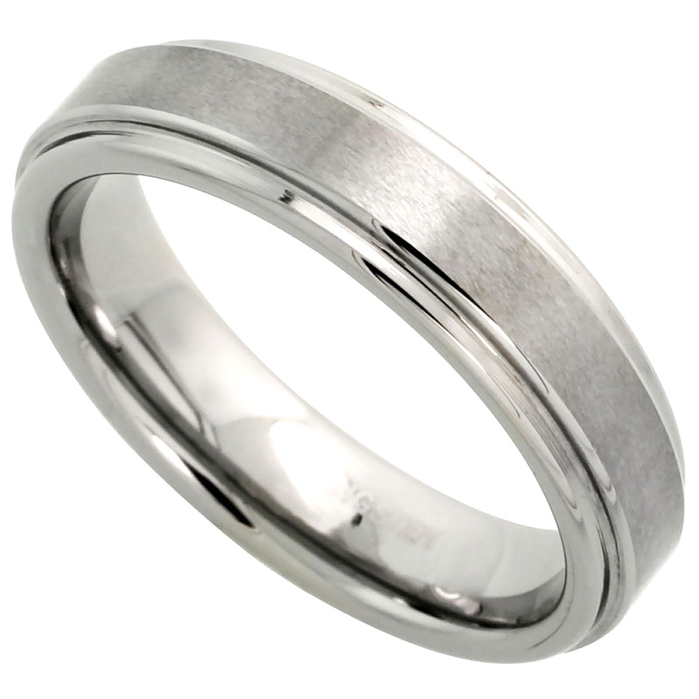 Tungsten Flat Center Satin Finish Ring 5.5mm
