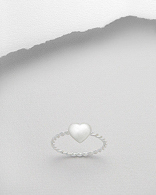 Heart Stackable Sterling Silver Ring